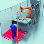 Kooperation: Mensch und Maschine teilen sich einen gemeinsamen Arbeitsraum, arbeiten darin aber zu unterschiedlichen Zeitpunkten. Eine solche Arbeitssituation ist beispielsweise in einer Übergabestation für einen Montageroboter gegeben.